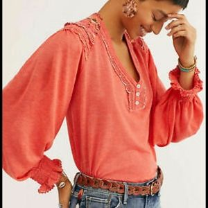 Free People embroidered top boho blouse